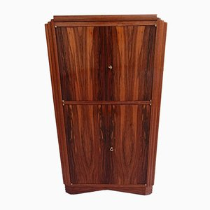 Art Deco Bar Mahogany Cabinet with Mirrored Top