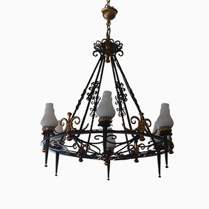 Lámpara de araña grande de hierro forjado, años 40