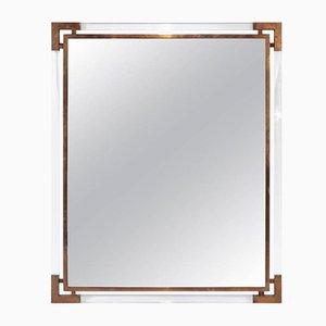Espejo francés vintage de latón dorado y plexiglás de Guy Lefevre para Maison Jansen