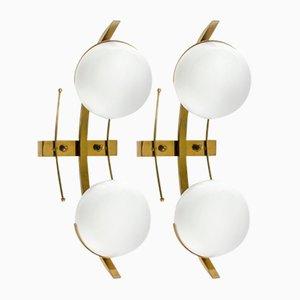 Brass and Glass Sconces from Stilnovo, Set of 2
