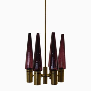 Lámpara de araña vintage morada de Hans-Agne Jakobsson