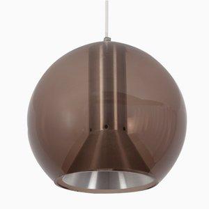 Lámpara colgante Globe vintage de cristal ahumado de Frank Ligtelijn para Raak