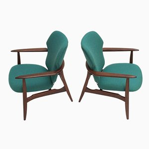 Mid-Century Danish Organic Teak & De Ploeg Wool Chairs by Aksel Bender Madsen for Bovenkamp