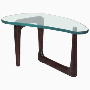 Mesa de centro italiana con tablero de vidrio grueso, años 50