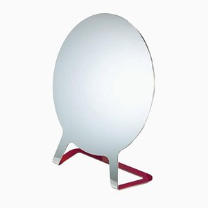 Polished Steel Mirror with Raspberry Lacquered Back by Philippe Cramer, 2015