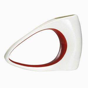 Vaso Sils in porcellana e smalto rosso di Philippe Cramer, 2005