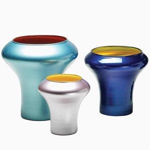 Handgeblasene Ragaz Glasvasen aus Lackiertem Glas von Philippe Cramer, 2012, 3er Set