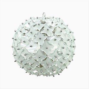 Lámpara colgante Mid-Century de vidrio con forma de bola de nieve, años 60
