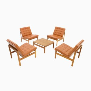 Vintage Leather Lounge Chairs and Table by Torben Lind & Ole Gjerløv-Knudsen for France & Søn, 1970s