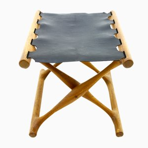 PH 43 Folding Stool in Teak and Leather by Poul Hundevad, 1950s