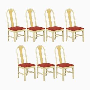 Sillas italianas vintage de madera y tela, años 50. Juego de 7