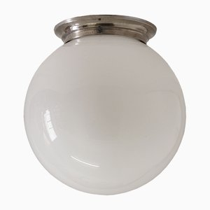 Französische Vintage Art Deco Metall & Opalglas Deckenlampe