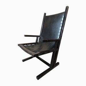 Vintage Dutch Black Leather Lounge Chair, 1960s