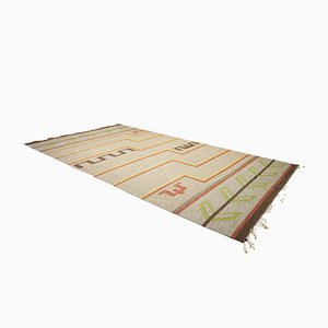 Alfombra sueca vintage grande de tejido plano