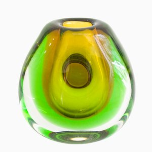 Vintage Submerged Glass Vase by Vladimir Mika for Moser Glasswork, 1967