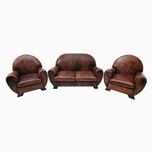 Mobilier de Salon Club Vintage en Cuir, Set de 3