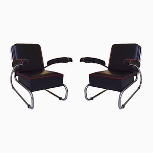 Leather Lounge Chairs by Hayek Gottwald, 1930s, Set of 2