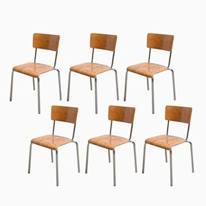 Industrial Chrome Beechwood Stacking Chairs from Tubax, Set of 6