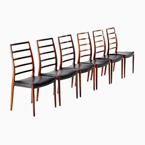 Model 82 Chairs by Niels Moller for J.L. Moller Mobelfabrik, 1970s, Set of 6