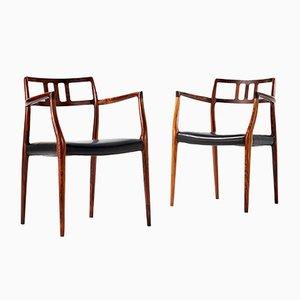 Modell 64 Stühle von Niels Moller für J.L. Moller Mobelfabrik, 1966, 2er Set