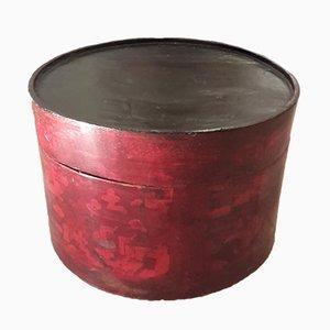 Scatola grande rotonda in legno di balsa verniciato, anni '60