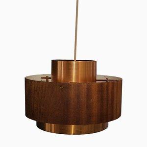 Mid-Century Brass & Veneer Pendant Lamp, 1960s