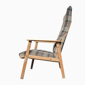 Dänischer Highback Sessel aus Karierter Wolle & Eiche von Getama, 1970er
