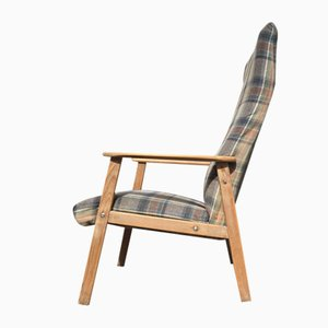 Danish Highback Checkered Wool & Oak Easy Chair from Getama, 1970s