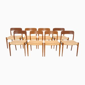 Model 75 Teak Dining Chairs by Niels O. Møller for J.L. Møllers, 1960s, Set of 8