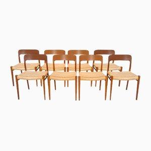 Sedie da pranzo modello 75 in teak di Niels O. Møller per J.L. Møllers, anni '60, set di 8