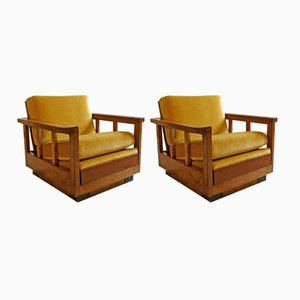 Cubist Art Déco Velvet Club Chairs, 1920s, Set of 2