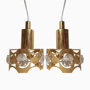 Petites Lampes à Suspension Vintage Moderne en Cristal et Dorure, Danemark, 1970s, Set de 2