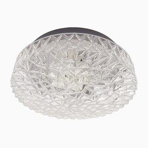Große Strukturglas Wandlampe mit Geometrischen 3D Mustern, 1960er