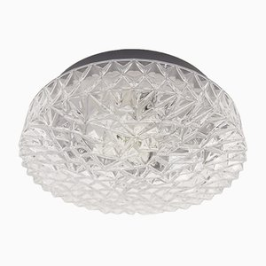 Large Structured Glass Wall Lamp with Geometric 3D Patterns, 1960s