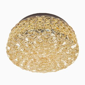 Golden Structure Glass Wall Lamp with Geometric 3D Pattern, 1960s