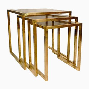 Italian Brass Nesting Tables, 1970s, Set of 3
