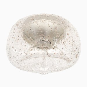 Lampe Donut en Verre Transparent & Chrome avec Inclusions, 1960s