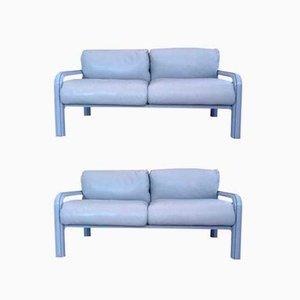 Zwei-Sitzer Ledersofas von Gae Aulenti für Knoll International, 1970er, 2er Set