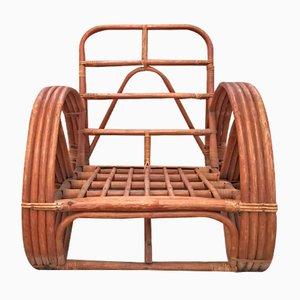 Runder Französischer Sessel aus Bambus & Rattan in Brezelform, 1950er