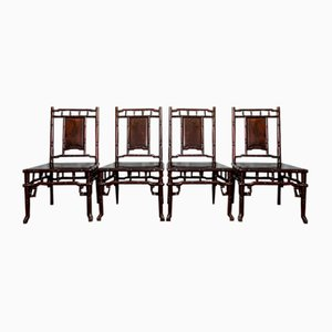 Vintage Chinese Hardwood Chairs, Set of 4