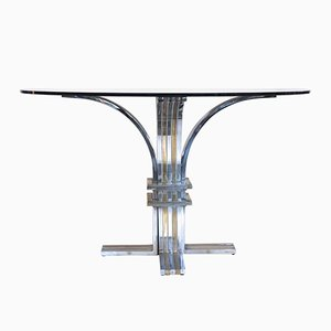 Tisch mit Podest aus Stahl & Vergoldetem Messing von Romeo Rega, 1970er