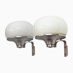 Große Runde Wandlampen, 1960er, 2er Set