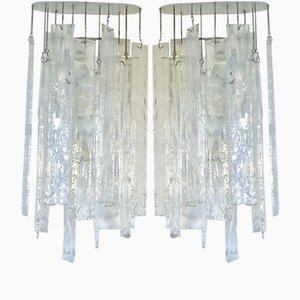 Lámparas de pared de cristal de Murano grandes de Carlo Nason para Mazzega, años 70. Juego de 2