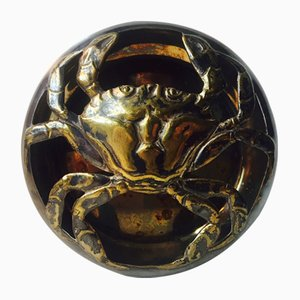 Danish Art Deco Brass Mud Crab Incense Burner, 1921