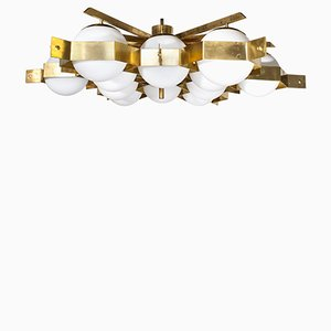Large 12-Globe and Brass Ceiling Light by Fedele Papagni, 2000s