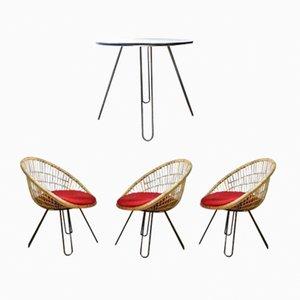 Tavolo e poltrone con gambe a forcina, anni '50, set di 4