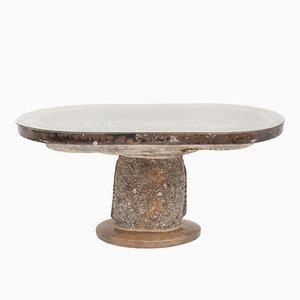 Mesa auxiliar antigua de mármol orgánico
