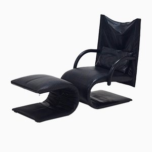 Zen Lounge Chair and Ottoman by Claude Brisson for Ligne Roset, 1980s