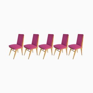 Vintage French Art Deco Style Dining Chairs, Set of 5