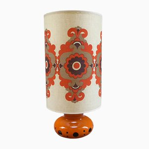 French Ceramic Flower Power Table Lamp, 1970s